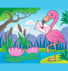 flamingo with love letter theme 2 vector image