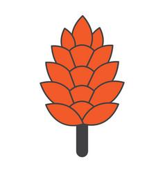 Flat color pine cone icon vector