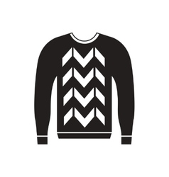 Flat icon in black and white men sweater vector