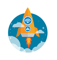 Flat orange rocket ship launched to the space vector