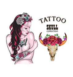Flower tattoo design shop tattooed lady skull of vector