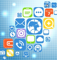 Flying color web graphic interface icons vector image