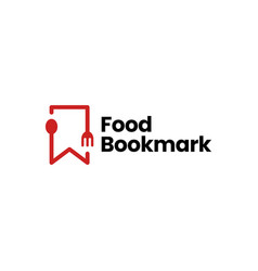 Food spoon fork bookmark restaurant logo icon vector