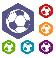 Football ball icons set hexagon vector