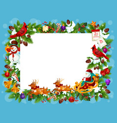 Frame for christmas greeting card with blank space vector