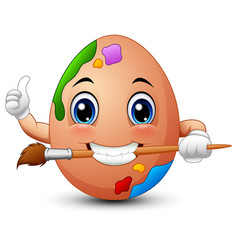 funny brown easter egg painter gives a thumbs up w vector image