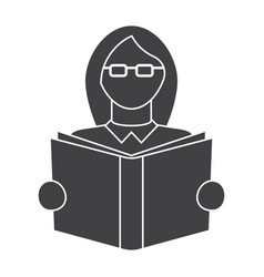 Girl read book vector