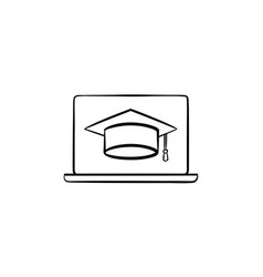 graduation cap on computer screen hand drawn icon vector image