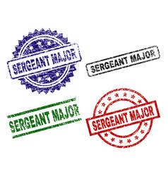 Grunge textured sergeant major stamp seals vector