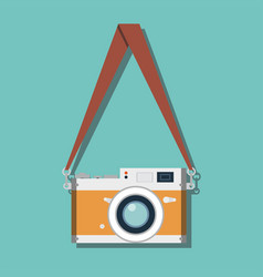 hanging retro camera flat style design vector image