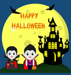 happy halloween two vampire dracula in the style vector image