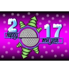 Happy new year 2017 and golf vector image