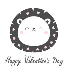 happy valentines day lion face head sketch line vector image