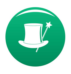 hat with a wand icon green vector image