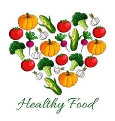 Heart with vegetables cartoon poster design vector