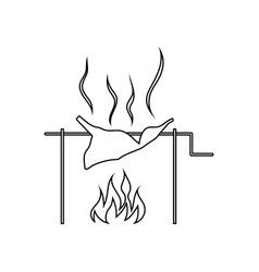 icon of roasting meat on fire vector image