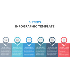 Infographic template with 6 steps vector