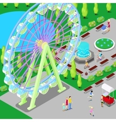 Isometric Amusement Park with Ferris Wheel vector image