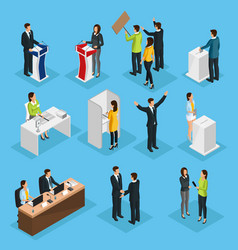 isometric people election set vector image