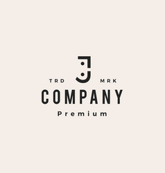 J letter people family human hipster vintage logo vector