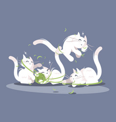 Kittens play with ball threads vector