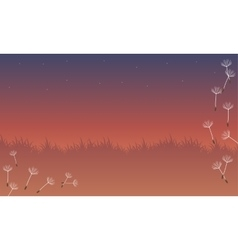 Landscape of spring with flying flower vector