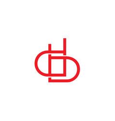 letter db geometric overlap lines art linked logo vector image