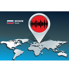 Map pin with Moskow skyline vector