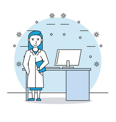 Medical research woman vector