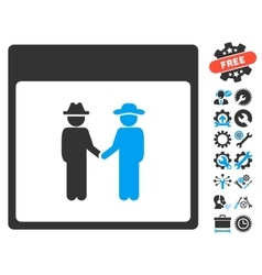 Men Handshake Calendar Page Icon With Bonus vector