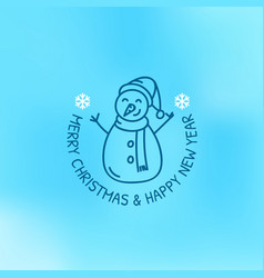 merry christmas and happy mew yaer logo on blue vector image