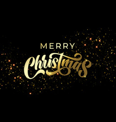 merry christmas golden stars light sparkles and vector image