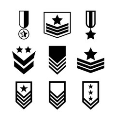 Military rank icon set army insignia symbol vector