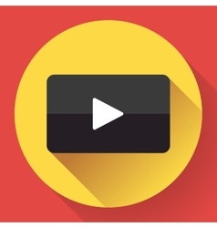 Modern flat video player icon on red vector image