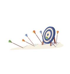 Multiple arrow missed hitting target mark isolated vector