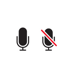 muted and unmuted microphone icons vector image