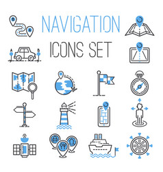 navigation outline black location pin pictograph vector image