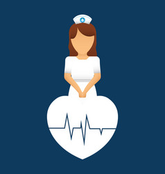 nurse heartbeat pulse care vector image