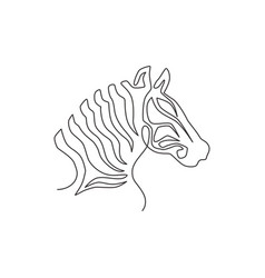 one continuous line drawing zebra head for zoo vector image