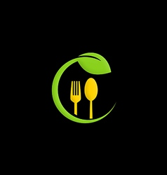 Organic food green leaf nature logo vector