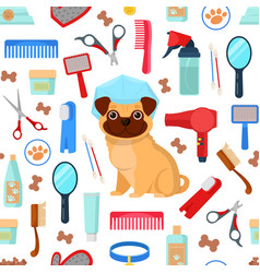 Pattern with grooming tools and dog vector