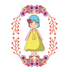 Peace and love woman with flowers branches vector