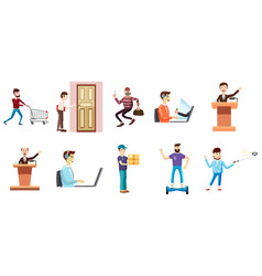 people with object icon set cartoon style vector image