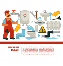 pipeline repair plumber service and plumbing or vector image