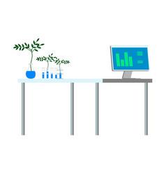 Plants in a laboratory glassware urban farming vector