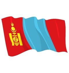 Political waving flag of mongolia vector