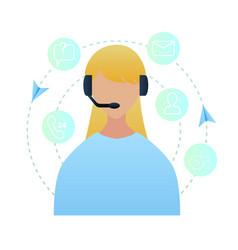 portrait woman worker call center vector image