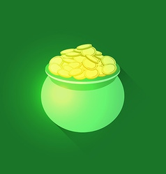 Pot full of gold coins vector image