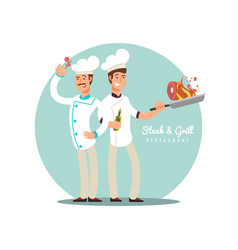 professional chefs flat design happy cooks vector image