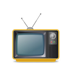 realistic detailed 3d retro tv with antenna vector image